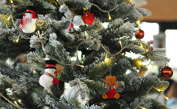 christmas tree lights and ornaments